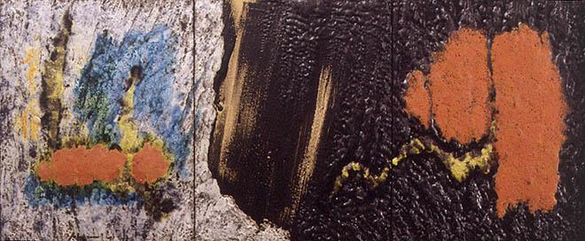 Blanc, negre, verd, roig i groc. Ceràmica sobre taula, 1995 Museu d'Art Contemporàni Vicent Aguilera Cerni, Vilafamés